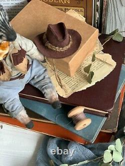 Teddy Handmade Handmade Toy Cadeau Collectable Animal Ooak Zebra Cowboy Poupée Décor