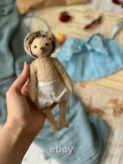 Teddy Handmade Intérieur Jouet Collectable Cadeau Animal Doll Ooak Hedgehog Romantique