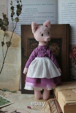 Teddy Handmade Intérieur Jouet Collectable Cadeau Animal Doll Ooak Pig Piggy Piglet