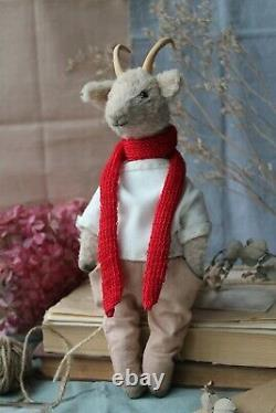 Teddy Handmade Interior Toy Collectable Gift Animal Doll Ooak Goat In Coat Decor