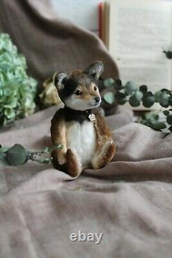 Teddy Handmade Toy Collectable Gift Animal Ooak Dog Puppie Doll Décor