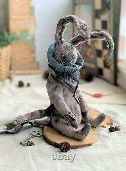 Teddy Handmade Toy Gift Ooak Doll Bear Rabbit Hare Bunny Alice Au Pays Des Merveilles