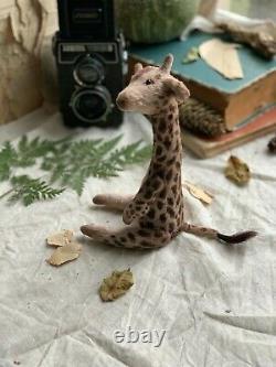 Teddy Jouet D'intérieur Fait Main Cadeau Collectionnable Animal Ooak Giraffe Doll Decor Bear