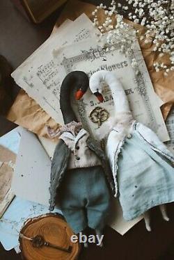 Teddy Jouet D'intérieur Fait Main Cadeau Collectionnable Poupée Animal Ooak Swan Paire Oiseau