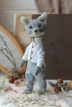 Teddy Main Intérieur Jouet Collectables Cadeau Poupée Animaux Ooak Loup Décor Kimono