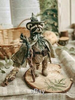 Teddy Main Toy Cadeau Assistant Collectables Poupée Ooak Raccoon Animal Mage Druide