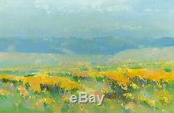 Vallée Jaune, Peinture À L'huile Originale Grande Oeuvre D'une Main Un Genre