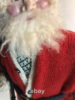 Vintage Hand Made Noël Santa 17 Withsack De Jouets Signée Par L'artiste Withtag Ooak