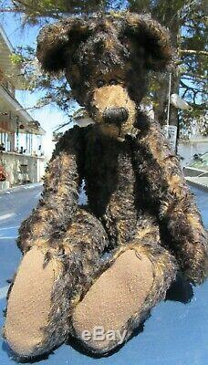 Vintage Noir Teddy Bear 22 Artiste Thymeless Trésors Des Armes Rares Mohair Longues