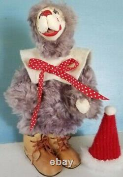 Vtg Artiste Teddy Bear Lulu Tatum Circus Clown Cuir Visage Pourpre Mohair Fangs