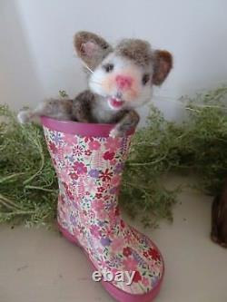 Wooly Mignon! Aiguille Felted Animals Cat Handmade Memorial 100% Made To Order
