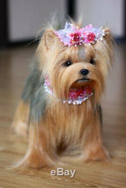 Yorkshire Terrier. Taille 38cm. Jouet Réaliste. Chien. Chiot